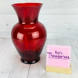 Ruby Red Glass Decorative Round Vase